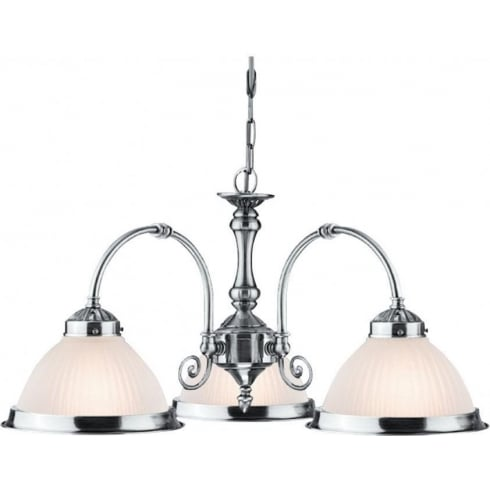 Searchlight Electric American Diner 1043-3 Satin Silver With Opaque Ribbed Glass Pendant