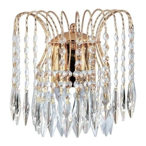 Searchlight Electric Waterfall 5172-2 Gold With Crystal Detail Wall Light