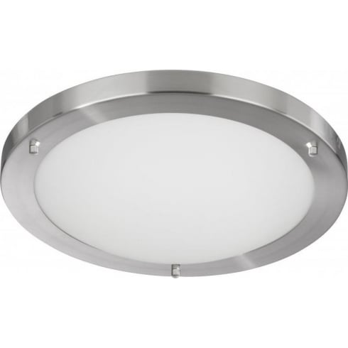 Searchlight Electric 10633SS Satin Silver With Opal Glass Shade Bathroom Flush Fitting