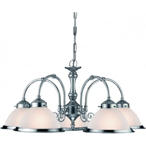 Searchlight Electric American Diner 1045-5 Satin Silver With Opaque Ribbed Glass 5 Light Pendant