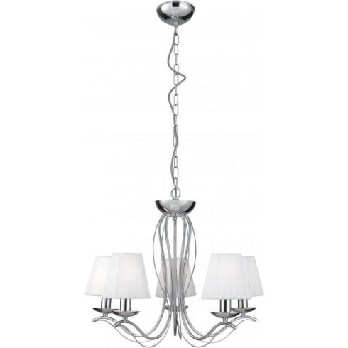 Searchlight Electric Andretti 9825-5CC Chrome With Faux Silk Shade Pendant