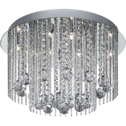 Searchlight Electric Beatrix 8088-8CC Chrome With Crystal Detail Semi-Flush Ceiling Light