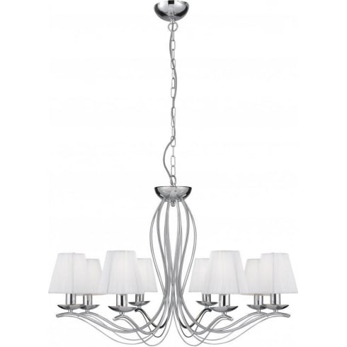 Searchlight Electric Andretti 9828-8CC Chrome With Faux Silk Shade Pendant