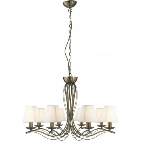 Searchlight Electric Andretti 9828-8AB Antique Brass With Faux Silk Shade Pendant