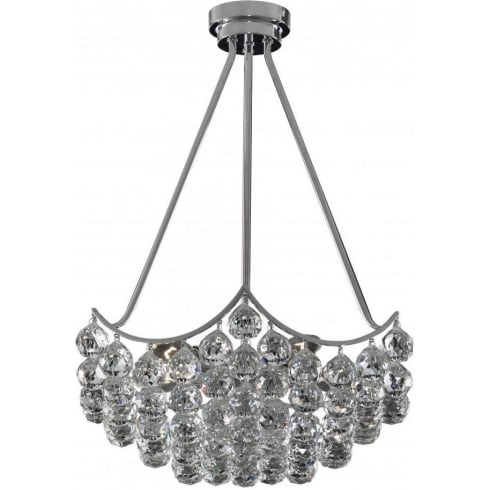 Searchlight Electric Sassari 7555-5CC Chrome With Crystal Detail Chandelier