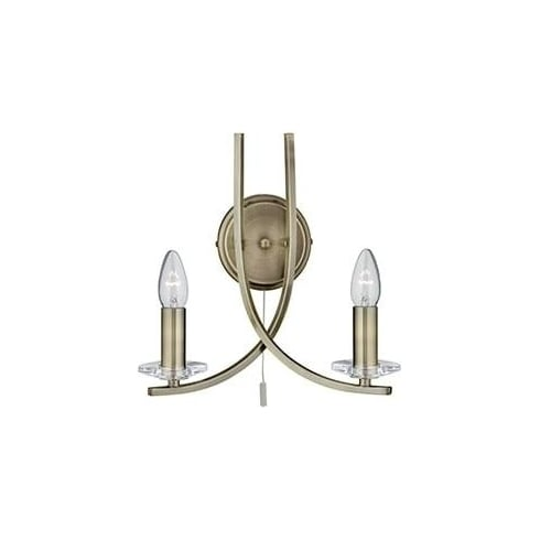 Searchlight Electric Ascona 4162-2AB Antique Brass And Glass Wall light