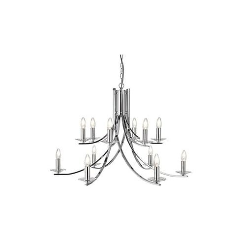 Searchlight Electric Ascona 41612-12CC Chrome And Glass Ceiling Light