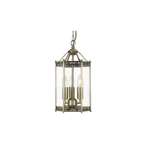 Searchlight Electric 2273AB Antique Brass And Glass Lantern