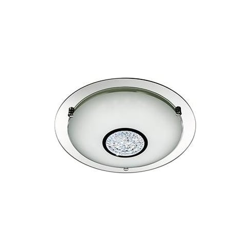Searchlight Electric Flush Glass 2773-31 Chrome And Crystal Flush Light