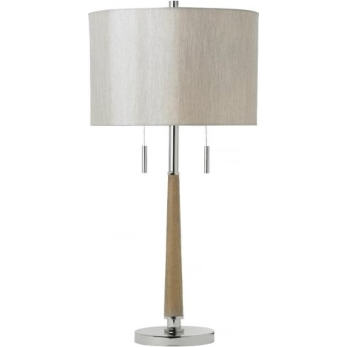 Endon Lighting Altesse ALTESSE-TLNI Wood & Polished Chrome Table Lamp