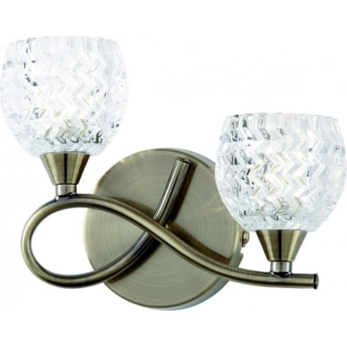 Endon Lighting Boyer BOYER-2WBAB Antique Brass & Glass Wall light