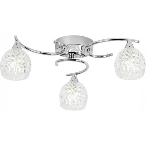 Endon Lighting Boyer BOYER-3CH Polished Chrome & Glass Semi Flush Ceiling Light