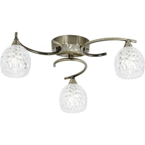 Endon Lighting Boyer BOYER-3AB Antique Brass & Glass Semi Flush Ceiling Light