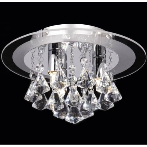 Endon Lighting Renner RENNER-3CH Crystal & Glass Semi Flush Ceiling Light