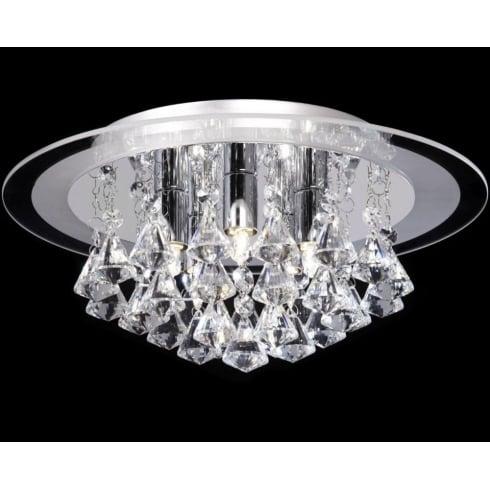 Endon Lighting Renner RENNER-5CH Crystal & Glass Semi Flush Ceiling Light