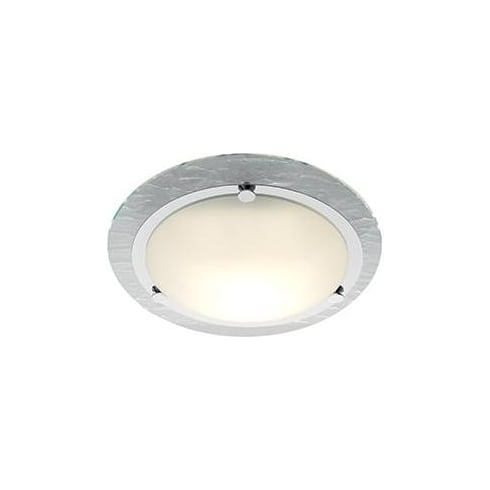 Searchlight Electric 2411CC Chrome Banded With Stone Glass Shade Bathroom Flush Fitting