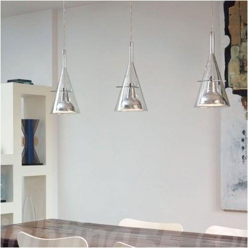 Fontana arte flute 3 chrome clear interior pendant ceiling light 3337 3