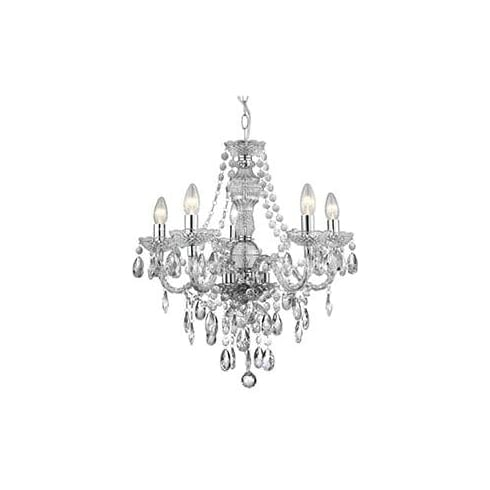 Searchlight electric the marie therese 8885 5cl 5 light traditional chandelier in polished chrome