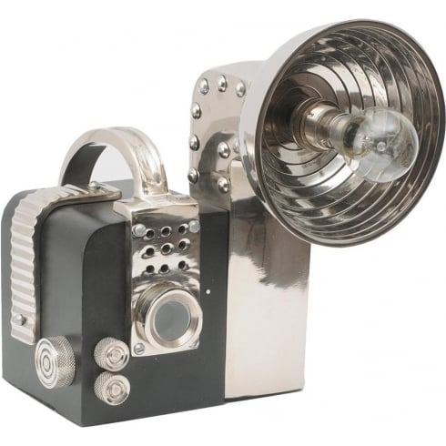 Libra Company Lichfield Camera Lamp 1370197 Black And Polished Chrome Table Lamp