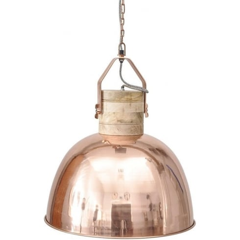 Libra Company Merle 037792 Medium Copper And Wood Pendant Ceiling Light