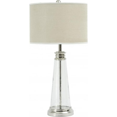 Libra Company Regal Glass 067010 Table Lamp Small With Bleach Linen Lamp Shade