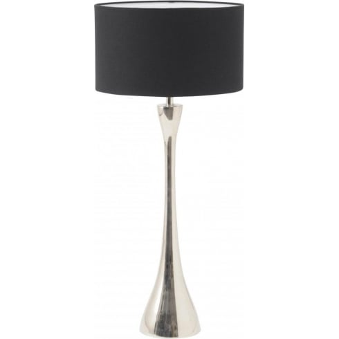 Libra Company Lyra Nickel 307002 Table Lamp With Black Drum Lamp Shade