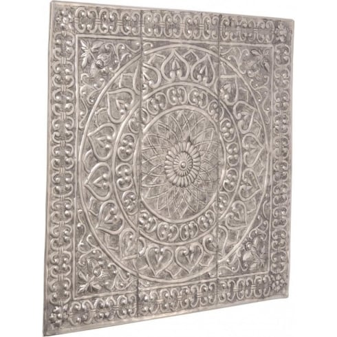 Libra Company Souk 336002 Embossed Antique Silver Aluminium Wall Art Decoration