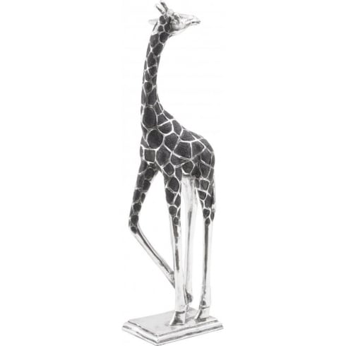 Libra Company Giraffe Sculpture with Head Back in Black and Silver 357140