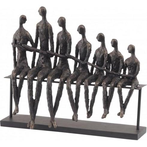 Libra Company Bench Family Sculpture 357152 Rustic Rough Bronze Finish