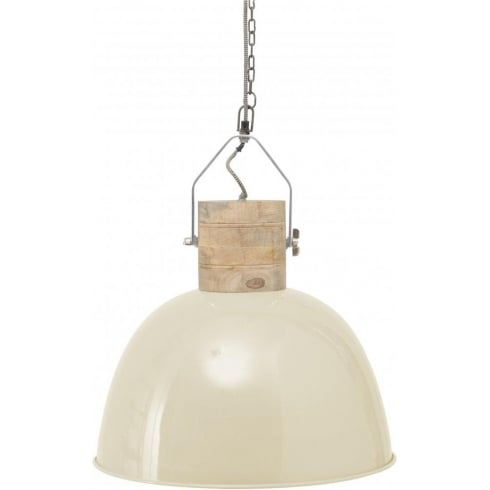 Libra Company Merle 037815 Large Cream And Wood Pendant Ceiling Light