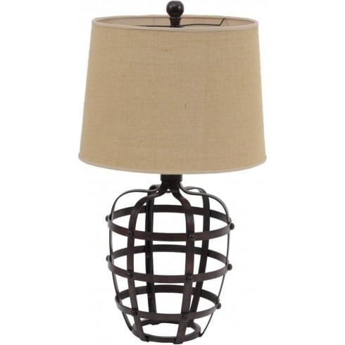 Libra Company Caged Urn 067013 Table Lamp with Rustic Metal finish and Natural Lamp Shade