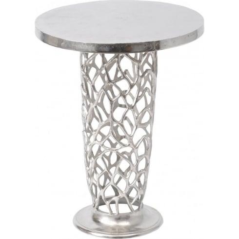 Libra Company Romano Coral 431000 Nickel textured Pedestal Side Table