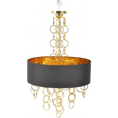 Libra Company Links 367215 Electroplated Gold Chandelier with Black Lamp Shade