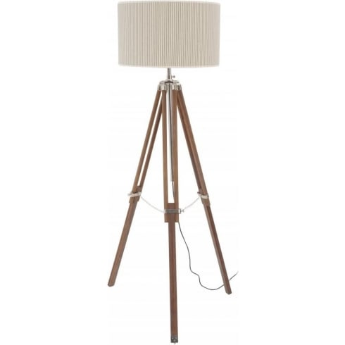 Libra Company Rowley Natural Wood and Nickel Tripod 037772 Floor Lamp with Ticking Lamp Shade