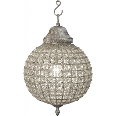 Libra Company Round 036048 Small Crystal Chandelier with Pewter Banded Leaf Decoration