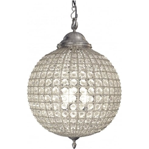 Libra Company Round 036047 Medium Crystal Chandelier with Pewter Banded Leaf Decoration