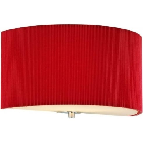 Dar Lighting Zaragoza ZAR0125 Red Fabric Shade Wall Light
