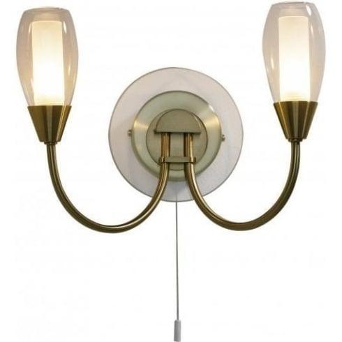 Dar Lighting Tugel TUG0975 Antique Brass 2 Light Wall Fitting