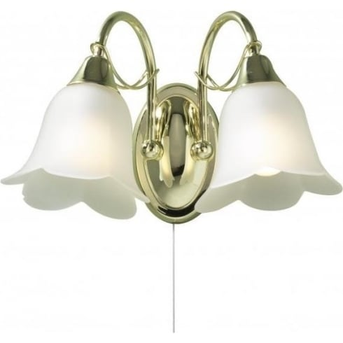 Dar Lighting Doublet DOU09 Brass 2 Light Wall Fitting