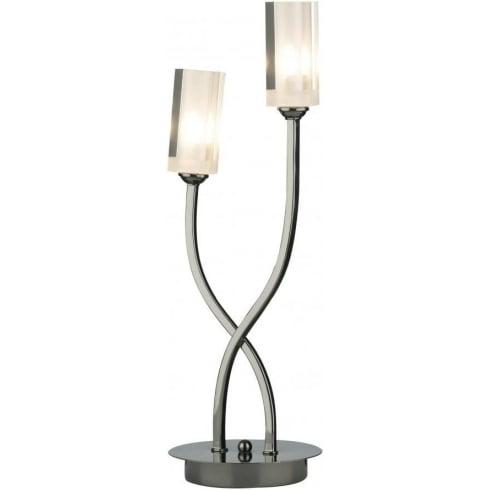 Dar Lighting Morgan MOR4067 Black Chrome 2 Light Table Lamp