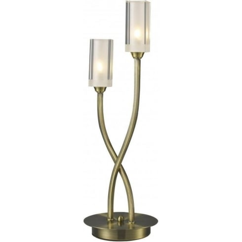 Dar Lighting Morgan MOR4075 Antique Brass 2 Light Table Lamp
