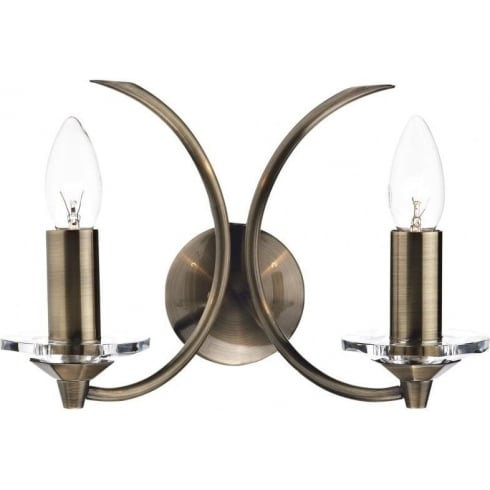 Dar Lighting Medusa MED0975 K9 Antique Brass Crystal 2 Light Wall Fitting