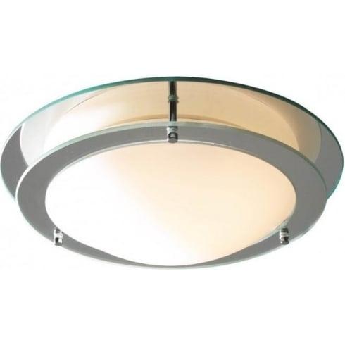 Dar Lighting LIB50 IP44 Round Flush Glass Ceiling Light