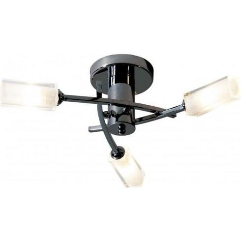 Dar Lighting Morgan MOR0367 Black Chrome Semi Flush 3 Light Ceiling Fitting