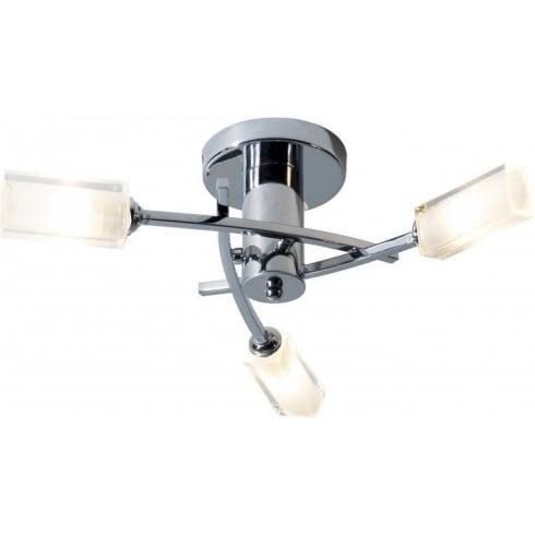 Dar Lighting Morgan MOR0350 Polished Chrome Semi Flush 3 Light Ceiling Fitting