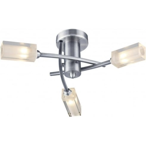 Dar Lighting Morgan MOR0346 Satin Chrome Semi Flush 3 Light Ceiling Fitting
