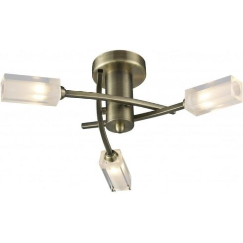 Dar Lighting Morgan MOR0375 Antique Brass Semi Flush 3 Light Ceiling Fitting