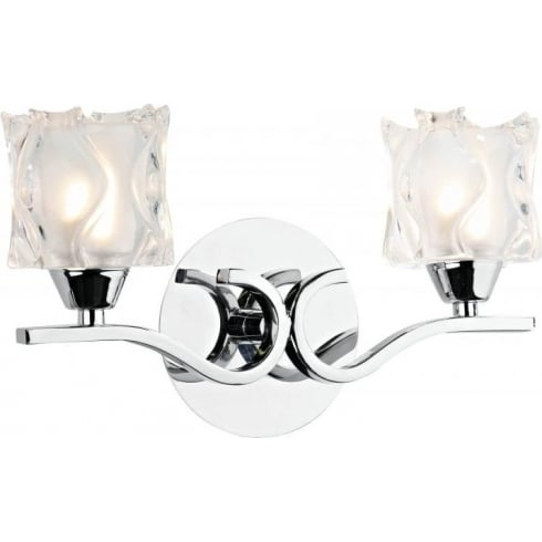 Dar Lighting Zola ZOL0950 Chrome & Sculptured Glass 2 Light Wall Fitting