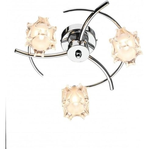Dar Lighting Jacob JAC5350 Polished Chrome Flush 3 Light Ceiling Fitting