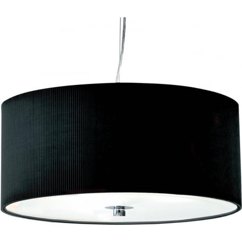 Dar Lighting Zaragoza ZAR1022 Black Fabric Shade 3 Light Pendant Small